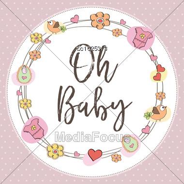 Baby Girl Shower Card. Vector Illustration Stock Photo