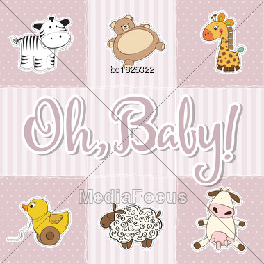 Baby Girl Shower Card. Vector Illustration Stock Photo
