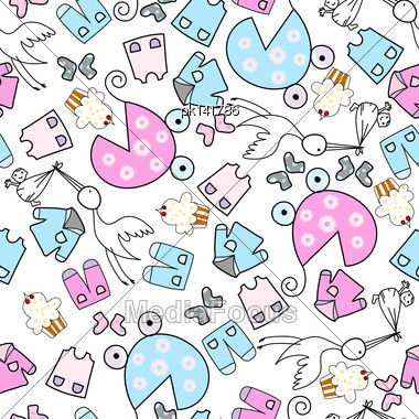 Baby Seamless Pattern. EPS 10 Vector Illustration Without Transparency Stock Photo