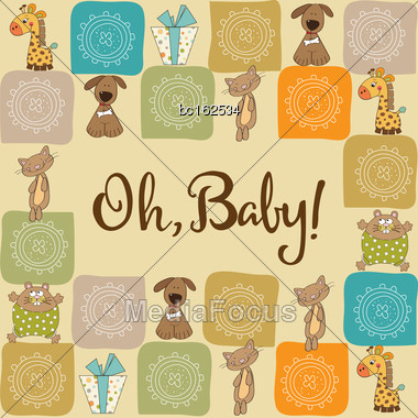 Baby Shower Card With Animals, Vector Format Stock Photo