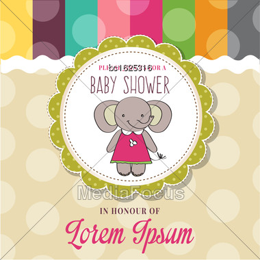 Baby Shower Card With Cute Little Mouse, Vector Format Stock Photo