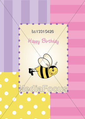 Baby Shower Card With Funny Little Bee, Vector Illustration Stock Photo