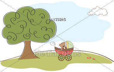 Baby Shower Card, Illustration In Vector Format Stock Photo