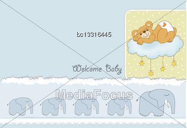 Baby Shower Card With Sleepy Teddy Bear, Vector Illustration Stock Photo