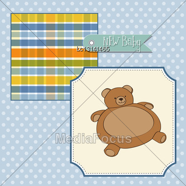 Baby Shower Card With Teddy Bear Toy, Vector Illustration Stock Photo
