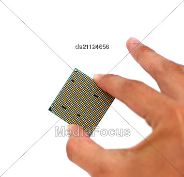 Back Of The Microprocessor In Hand Stock Photo