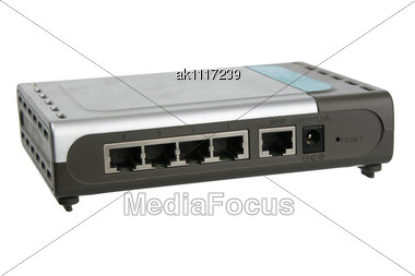Back Panel Of Network Router. Close-up Stock Photo