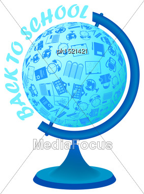 Back To School Design With Education Symbols In Globe Sphere Stock Photo
