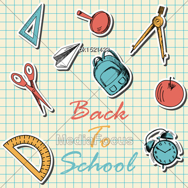 Back To School In Flat Design On Checkered Paper Sheet Stock Photo