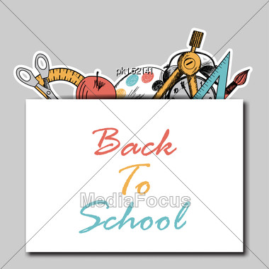 Back To School In Flat Design With Pocket And Education Hand Drawn Symbols Stock Photo