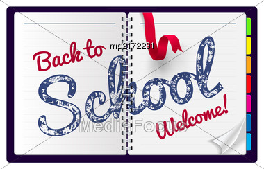Back To School Illustration On A Notepad Background. Vector Illustration Stock Photo