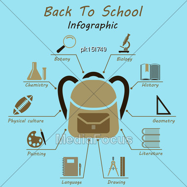 Back To School Infographics. EPS 10 Vector Illustration Without Transparency Stock Photo