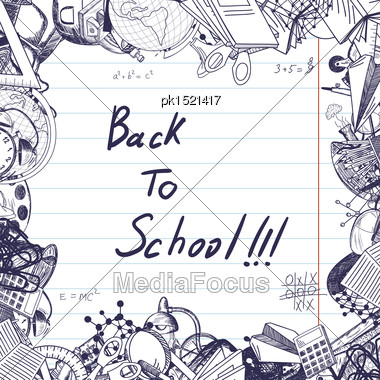 Back To School Title With Sketch Drawing Frame On Lined Paper Stock Photo