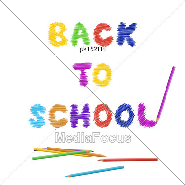 Back To School Title With Color Pencils Stock Photo
