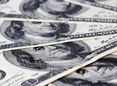 Background With American Hundred Dollar Bills. Close Up Stock Photo