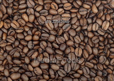 Background Of Aromatic Roasted Brown Coffee Bean Stock Photo