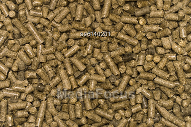 Background From The Pellets. Organic Material For Heating Boilers, As Well As Animal Stock Photo