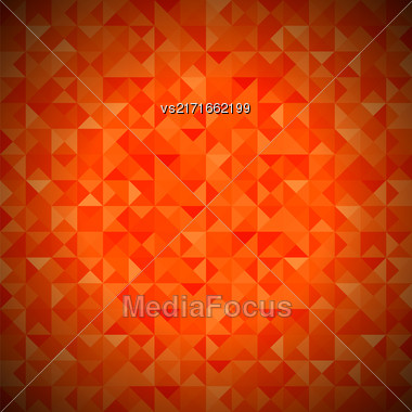Background With Geometric Shapes, Triangles. Old Mosaic. Red-Mosaic-Banner. Geometric Hipster Red Pattern With Place For Your Text. Graphic Template Background Stock Photo