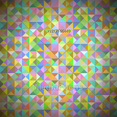 Background With Geometric Shapes, Triangles. Old Mosaic. Colored-mosaic-banner. Geometric Hipster Colorful Pattern With Place For Your Text. Graphic Template Background Stock Photo