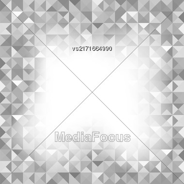 Background With Geometric Shapes, Triangles. Old Mosaic. Grey-Mosaic-Banner. Geometric Hipster Grey Pattern With Place For Your Text. Graphic Template Background Stock Photo