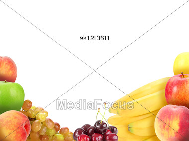 Background With Heap Of Fresh Motley Fruits. Placed On White. Close-up. Studio Photography. Stock Photo