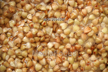 Background Made By Raw Buckwheat Stock Photo