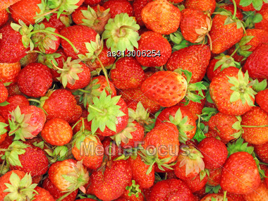 Background Of Fresh, Delicious Strawberries Stock Photo