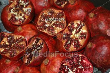 Background Of Pomegranates, Punica Granatum Stock Photo
