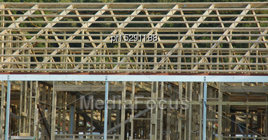 Background Of Timber Framing On Large Building Stock Photo