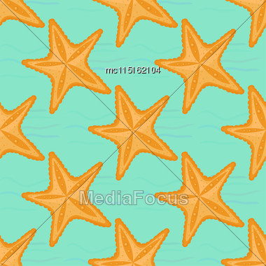 Background With Waves And Starfish, Seamless Sea Pattern Stock Photo