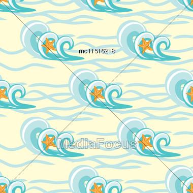 Background Waves And Starfish, Seamless Sea Pattern Stock Photo