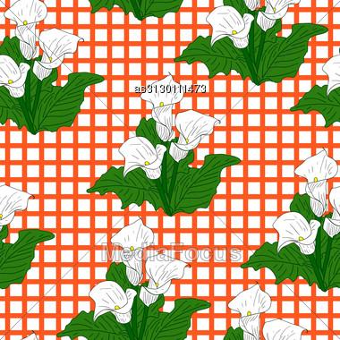 Background With White Callas. Seamless Wallpaper. Stock Photo