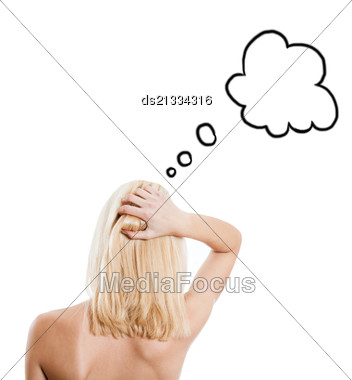 Backside Of The Blonde Female With Speech Bubble Stock Photo