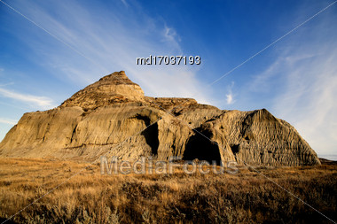 Badlands Canada Saskatchewan Big Muddy Castle Butte Stock Photo