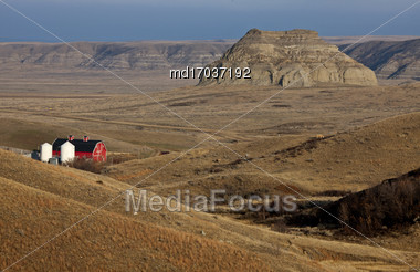Badlands Canada Saskatchewan Big Muddy Ranch Castle Butte Stock Photo