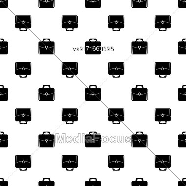 Bag Silhouette Seamless Pattern On White. Briefcase Background Stock Photo