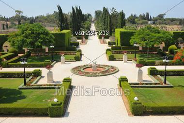 Bahai Gardens Near The City Of Acre, Israel Stock Photo