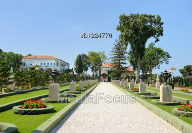Bahai Gardens Near The City Of Acre, Israel Stock Photo
