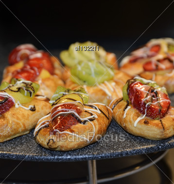 Baked Desserts With Fruits And Berries Stock Photo