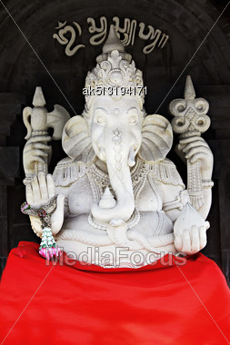 BALI, INDONESIA - FEBRUARY 26: White Ganesha Statue At Ulun Danu Temple On February, 26, 2011, Bali, Indonesia. Ganesha Is A Most Powerful Hindu God Stock Photo