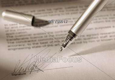 Ballpoint Pen With signature Stock Photo