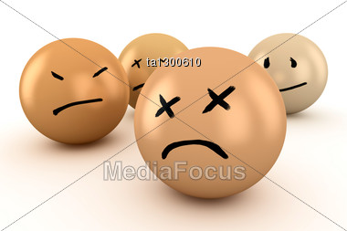 Balls With Different Emotions: Sadness, Grief, Disappointment Stock Photo