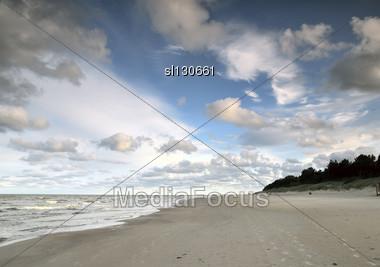 Baltic Sea Beach, Early Morning Stock Photo