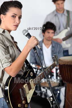 Band Jamming Together Stock Photo