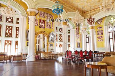 BANGALORE, INDIA - MARCH 27: Inside Bangalore Palace On March 27, 2012, Bangalore, India. Bangalore Palace Is A Great Indian Palace, But Built In English Style Stock Photo