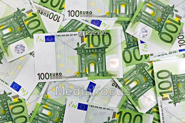Banknotes Of Euro Currency. One Hundred Euros Background Stock Photo