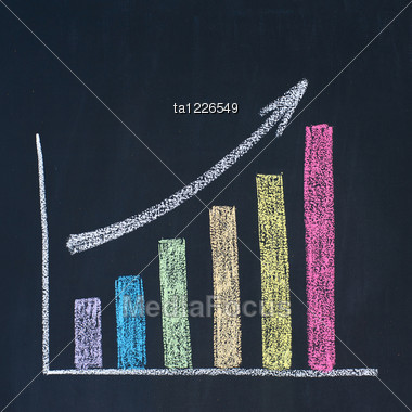 Bar Graph Of Growth, Drawn On A Blackboard Stock Photo