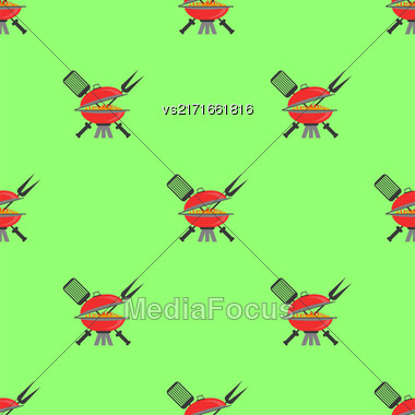 Barbeque Icon Seamless Pattern On Green. Summer Grill Background Stock Photo