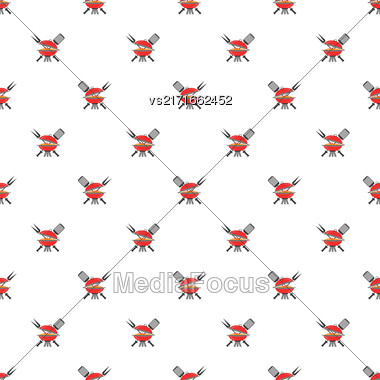 Barbeque Icon Seamless Pattern On White. Summer Grill Background Stock Photo