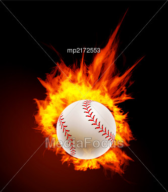 Baseball Ball On Fire Background Vector Illustration Stock Photo